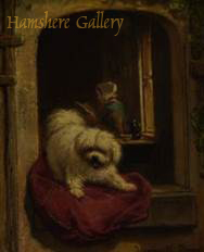 Click to see full size: An oil on panel of a Maltese / Bichon type by Henriette Ronner-Knip (Dutch, 1821 - 1909)