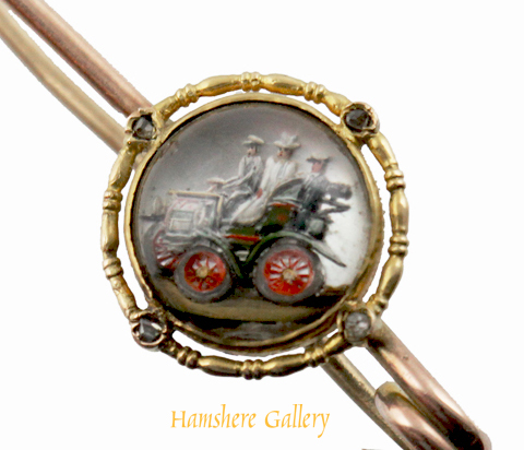 Click for larger image: An Edwardian motoring / Panhard car reverse intaglio crystal gold and diamond set brooch (Close Up) - An Edwardian motoring / Panhard car reverse intaglio crystal gold and diamond set brooch (Close Up)