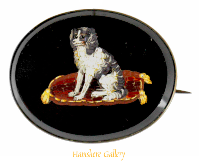 Click to see full size:  A Victorian mid 19th century micromosaic King Charles Cavalier Spaniels brooch