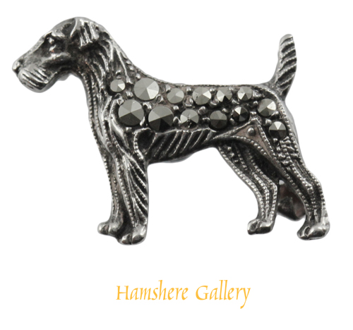 Click to see full size: A marcasite silver set Wire-haired Fox Terrier brooch