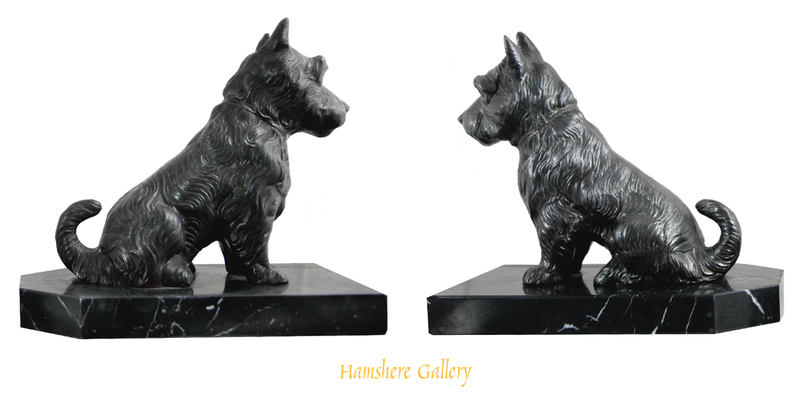 Click for larger image: Art Deco r�gule Scottish Terrier bookends, French circa 1920 - Art Deco r�gule Scottish Terrier bookends, French circa 1920
