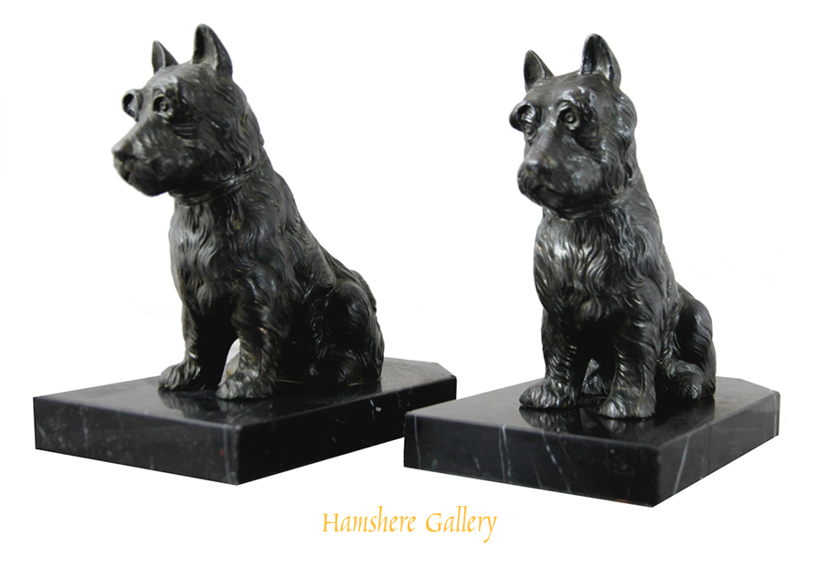 Click to see full size: Art Deco r�gule Scottish Terrier bookends, French circa 1920- Art Deco r�gule Scottish Terrier bookends, French circa 1920