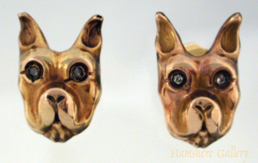 Click to see full size: Gold French Bulldog earrings