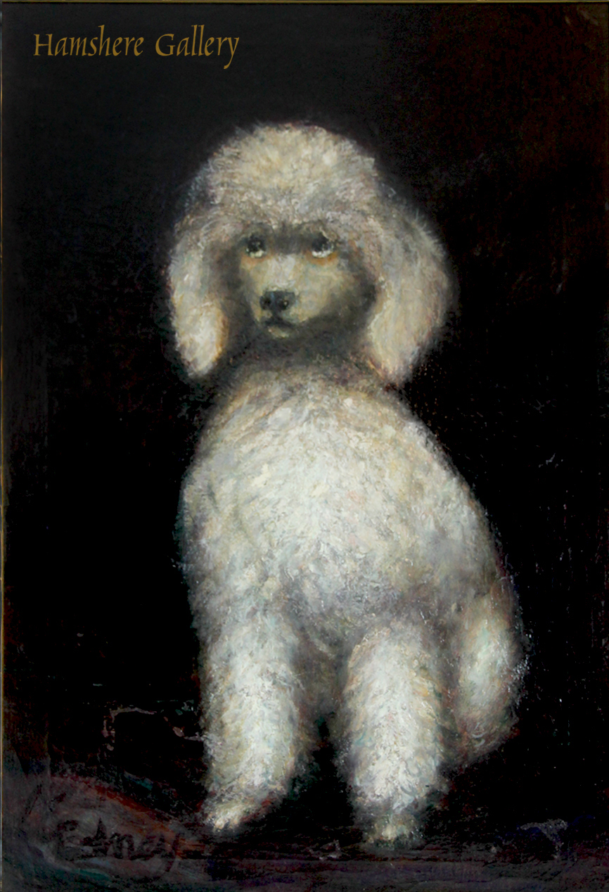 Click to see full size: A Poodle oil on canvas by Joann Gedney (American, 1925-2013)
