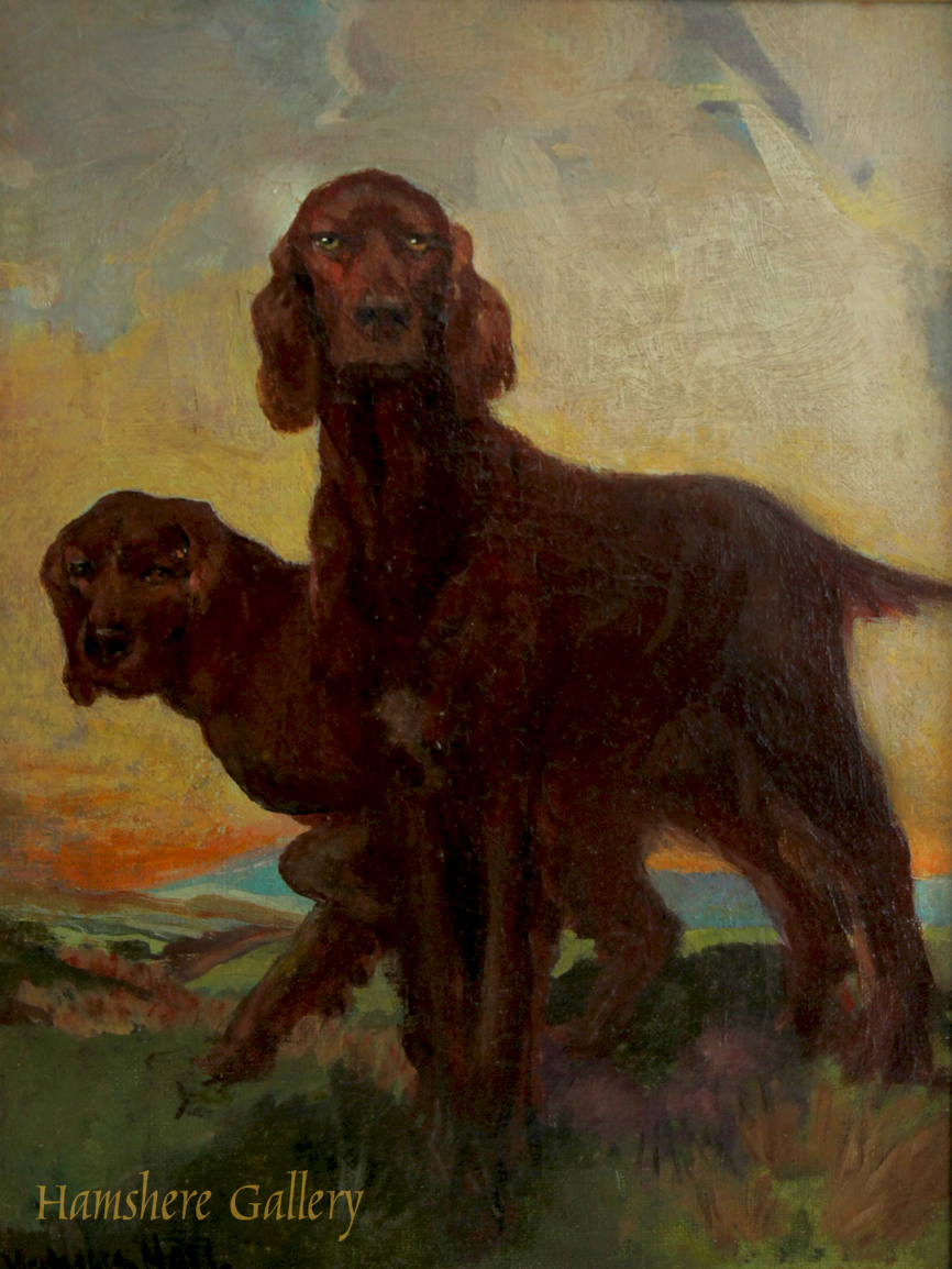 Click to see full size: Oil on canvas of a pair of Irish Setters by Miss Sara Westralia Hall (English exh, 1919-1920)