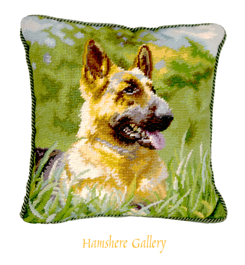 Click to see full size: A contemporary machine woven image of a German Shepherd