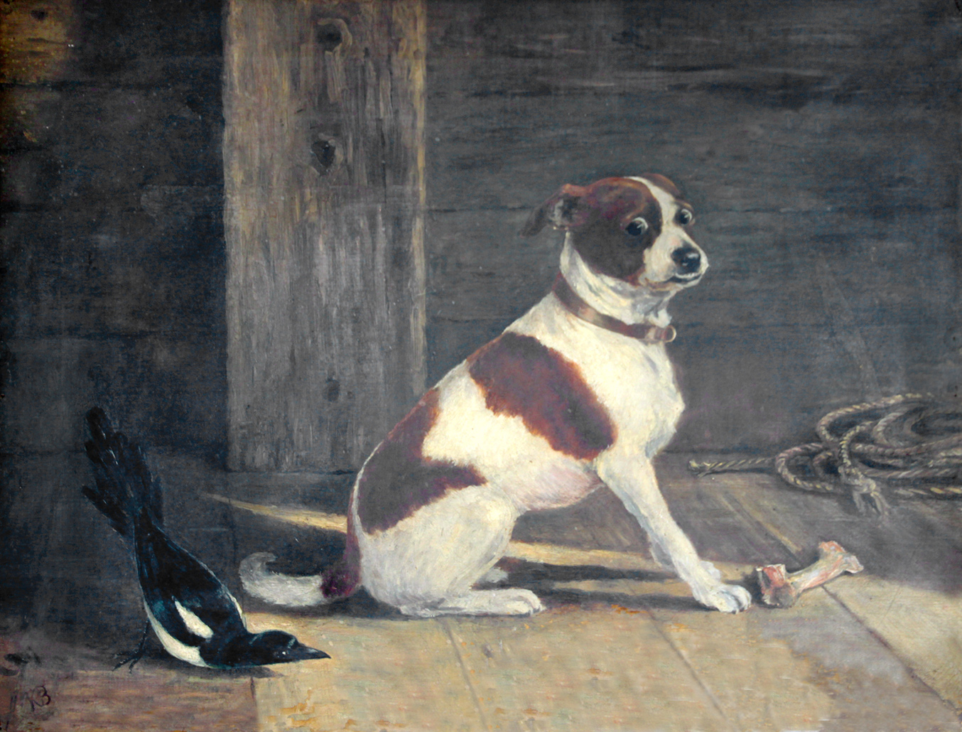 Click to see full size: An oil on canvas of a Terrier puppy and Magpie by Kathleen Frances Barker (English,1901-1969)