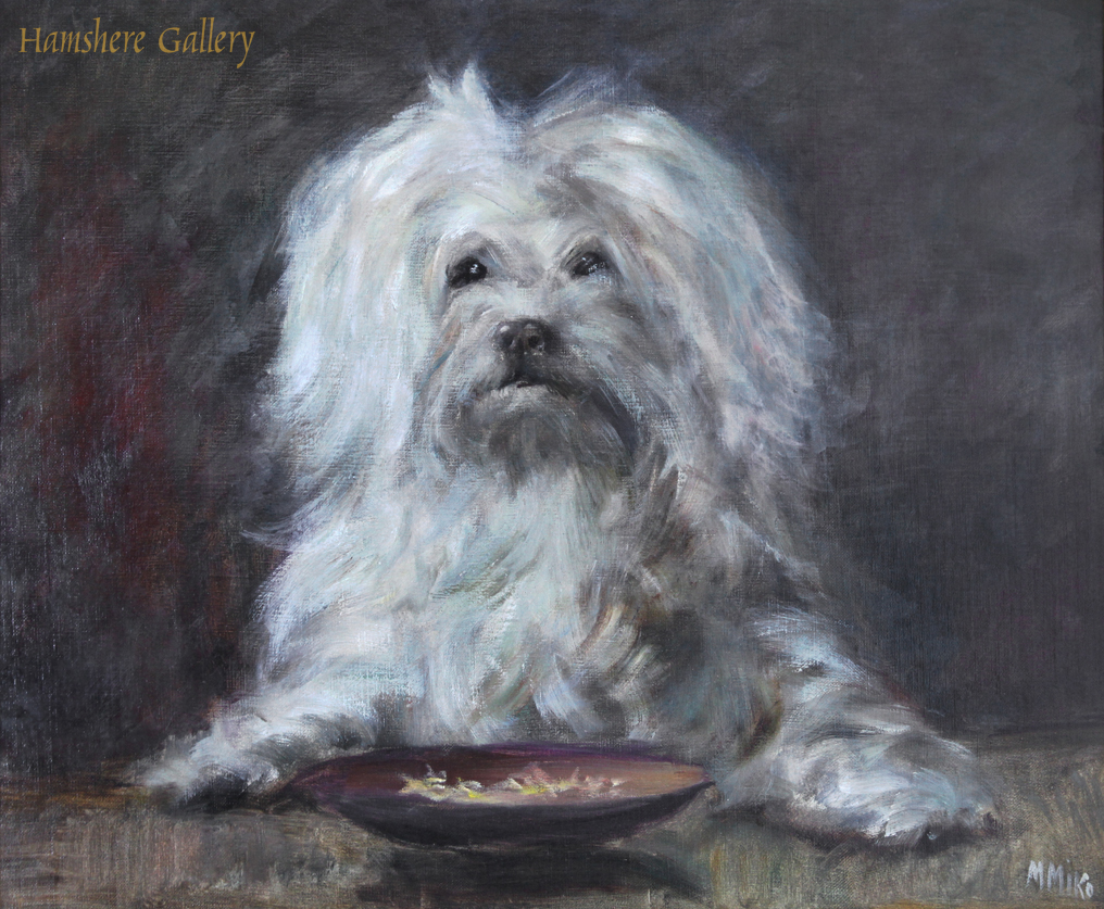 Click to see full size: An oil on canvas of a Maltese / Bichon type by M. Miko