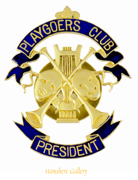 Click to see full size: A blue enamel and gilt metal Playgoers� Club button badge for the �President� contained in orig. plush-lined blue morocco gilt case by D. & J. Wellby Ltd., Garrick Street, London.