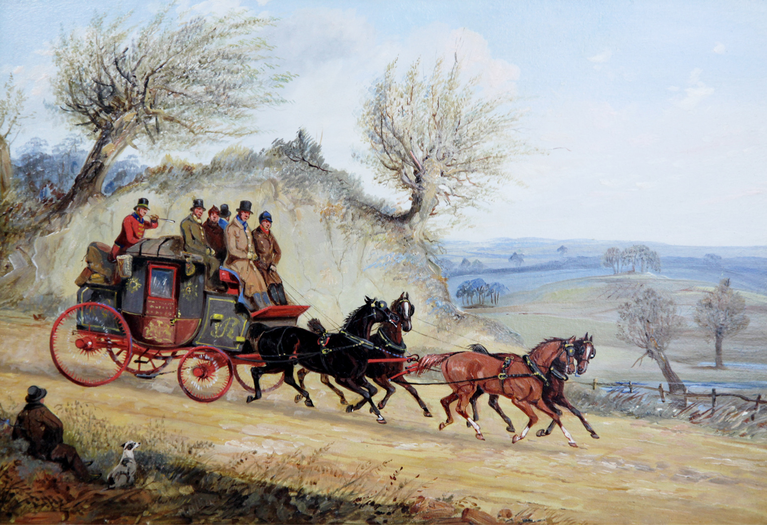 Click to see full size: Coaching oil, the Leeds Royal Mail by Samuel Henry Alken