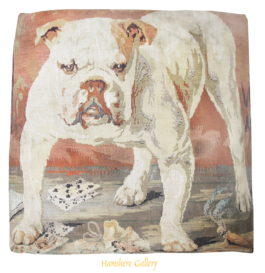 Click to see full size: footstall with needlework / needlepoint / textile of an english bulldog