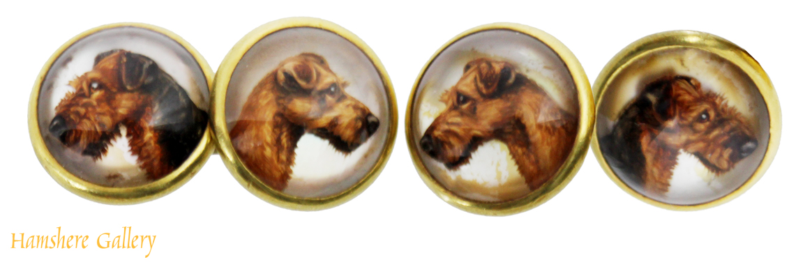 Click to see full size: Reverse intaglio crystal double airedale terrier cufflinks- Reverse intaglio crystal double airedale terrier cufflinks