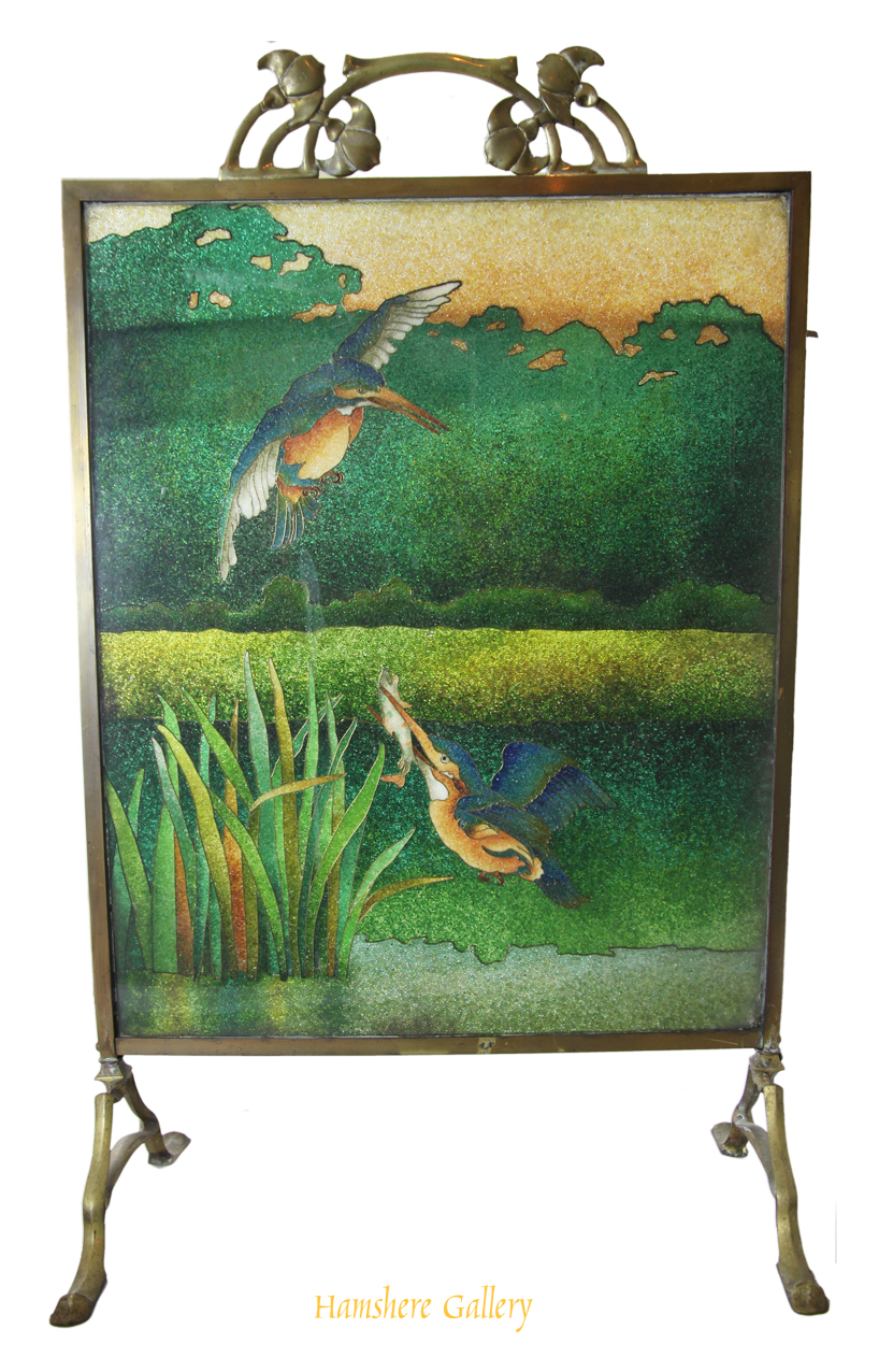 Click to see full size: Art Nouveau beaded glass Kingfisher fire screen
