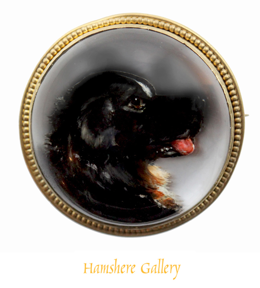 Click to see full size: 19th century reverse intaglio crystal brooch of a Bernese Mountain Dog / Berner Sennenhund