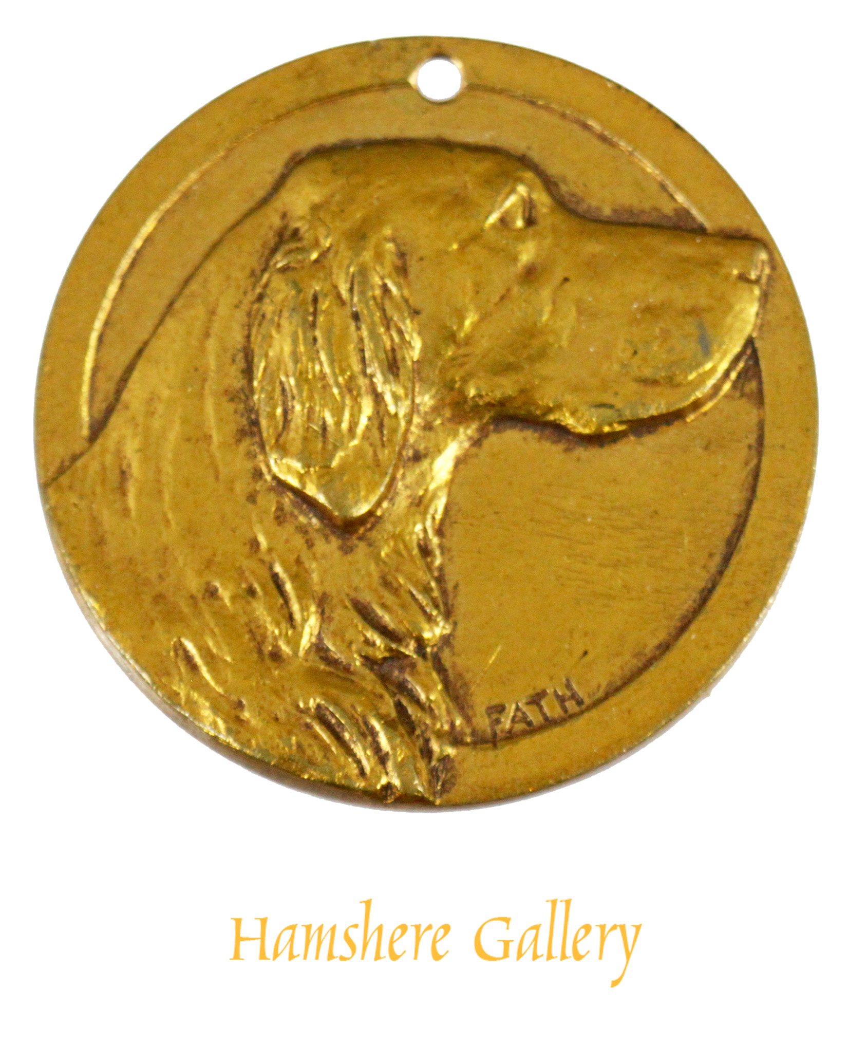 Click to see full size: Bronze medallion of a Setter by Richard Fath (French, 1900 - 1952)