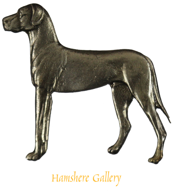 Click to see full size: Silver Kenart Brooch of a standing Great Dane