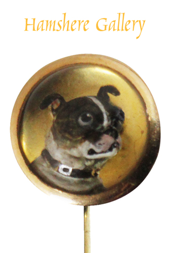 Click to see full size: A Victorian gold set reverse intaglio crystal Boston Terrier stick pin