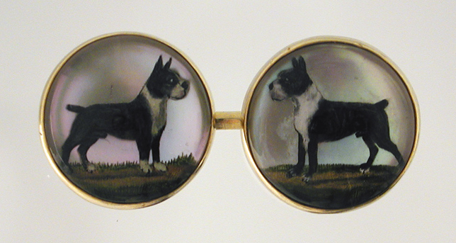 Click to see full size:  Boston Terriers Reverse intaglio crystal cufflinks