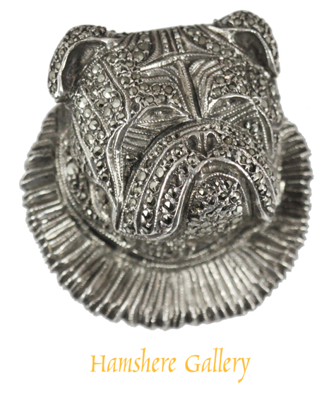 Click to see full size: Bulldog silver marcasite brooch