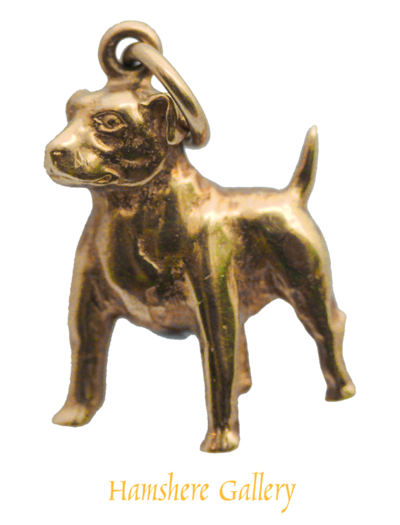 Click to see full size: Bull terrier gold charm