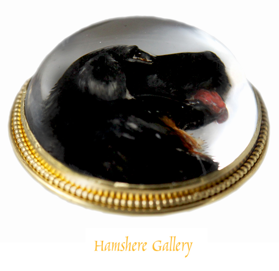 Click to see full size: 19th century reverse intaglio crystal brooch of a Bernese Mountain Dog / Berner Sennenhund - 19th century reverse intaglio crystal brooch of a Bernese Mountain Dog / Berner Sennenhund
