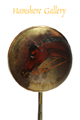 Click to see full size: A reverse intaglio crystal stick pin of  a horse