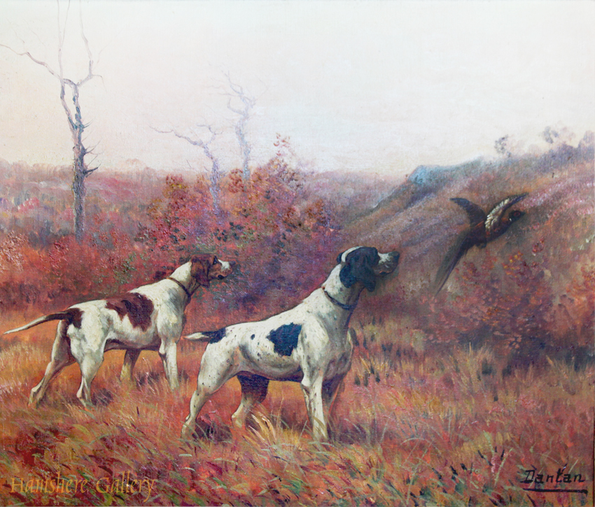 Click to see full size: A pair of Pointer dogs by Edouard Joseph Dantan (French, 1848 - 1897)