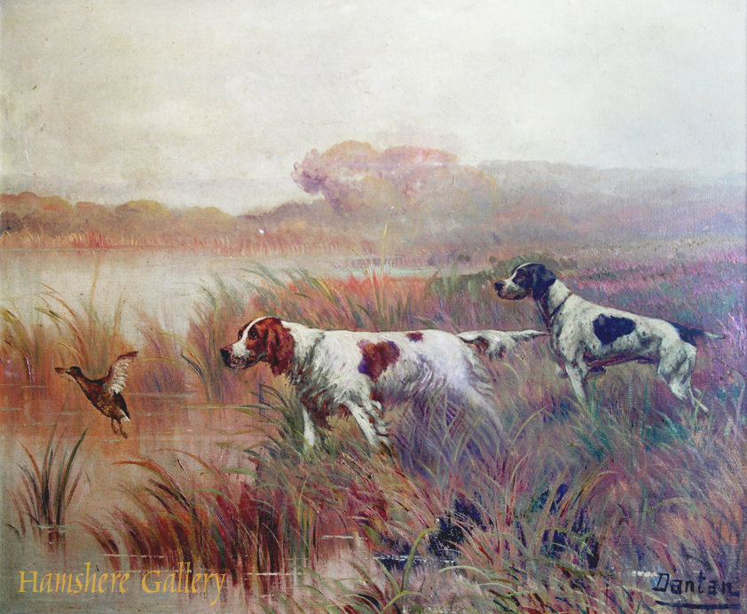 Click for larger image: A Pointer and Setter by Edouard Joseph Dantan (French, 1848 - 1897) Signature - A Pointer and Setter by Edouard Joseph Dantan (French, 1848 - 1897) Signature