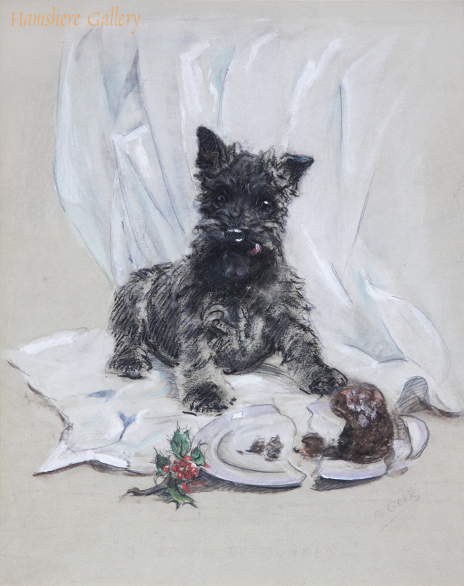 Click to see full size: A pastel of a Scottish Terrier puppy by Mabel Gear (English, 1989 -1987)