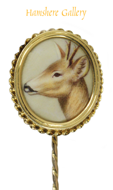 Click to see full size: Red deer gold set enamel stick pin by William Bishop Ford (English, 1832-1922)