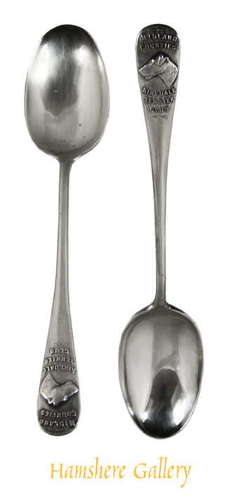 Click to see full size: Pair of 'Midland Counties 'Airedale Terrier Club' silver teaspoons