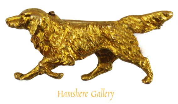 Click to see full size: A late 20th century gold brooch of a running Setter by Alabaster & Wilson