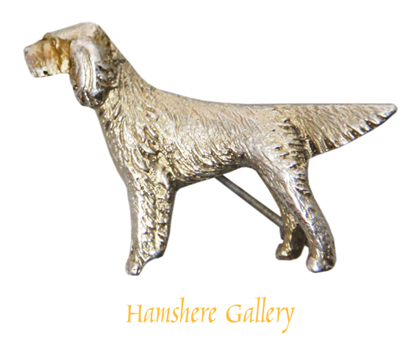 Click to see full size: Suckling, silver English Setter/ Gordon Setter/ Irish Setter brooch