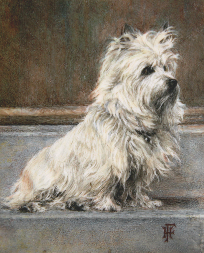 Click to see full size: A miniature of Jane a Cairn Terrier by Hilda M Farmery (English)