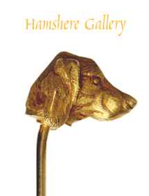 Click for larger image: A gold English Setter / Gordon Setter / Irish Setter stick pin - A gold English Setter / Gordon Setter / Irish Setter stick pin