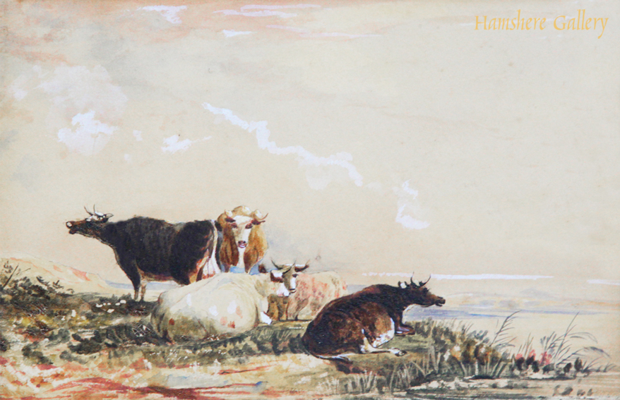 Click to see full size: Gouache and watercolour sketch of cattle / cows by a lakeside attributable to thomas sidney cooper cvo ra (english. 1803-1902)