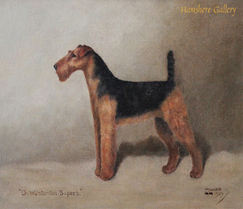 Click to see full size: Oil of the Airedale Terrier �Ch. Wolstanston Superb of Firenze� by William Lucas Lucas (English, 20th century)