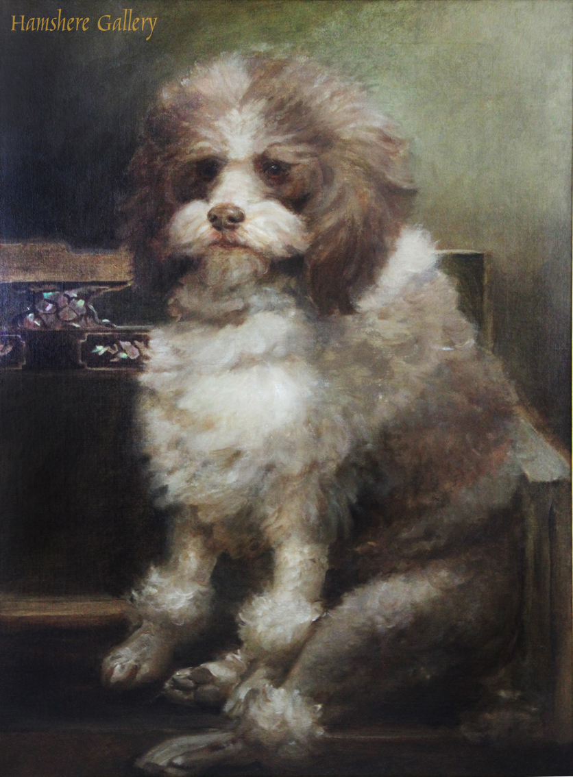Click to see full size: A circa 1900 oil on  canvas of a Parti Coloured Poodle