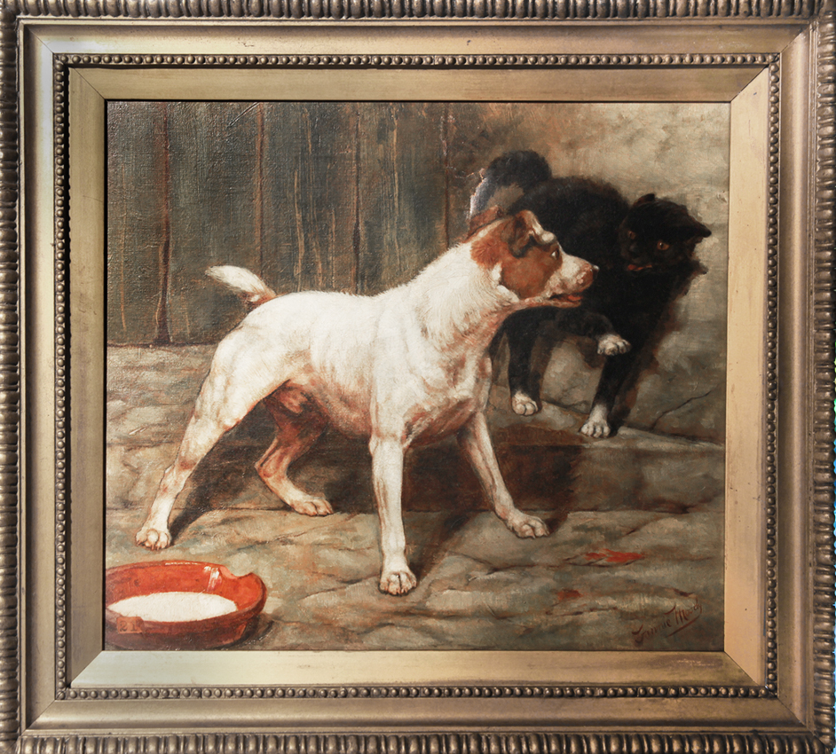 Click for larger image: Oil on canvas of Smooth-Haired Fox Terrier / Jack Russell and cat by Miss Fannie Moody SWA (English, 1861 - 1947). - Oil on canvas of Smooth-Haired Fox Terrier / Jack Russell and cat by Miss Fannie Moody SWA (English, 1861 - 1947).