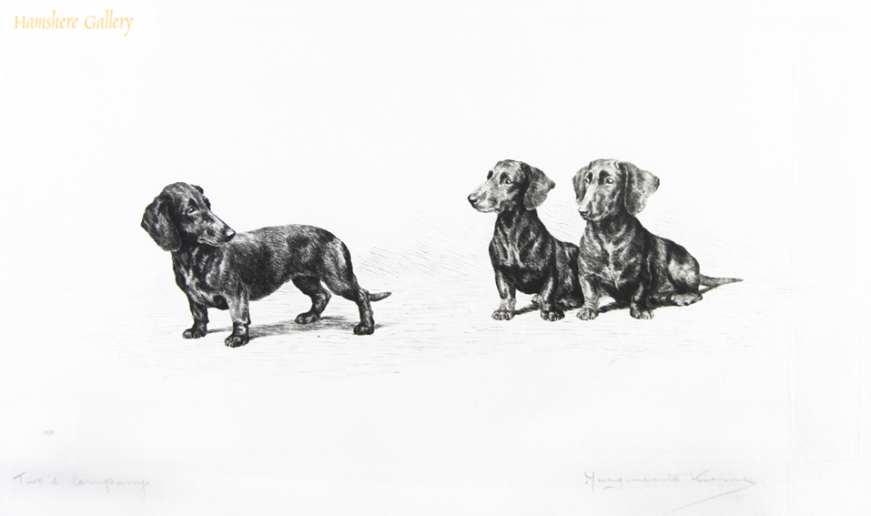 Click for larger image: Dachshund dry-point etching