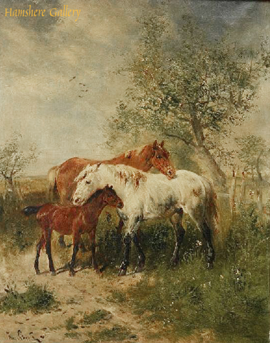 Click to see full size: An oil of horses and foal by Henri Schouten