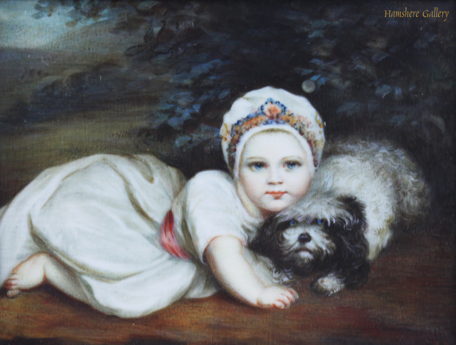 Click to see full size: An ivory miniature of Princess Sophia Matilda of Gloucester (1773-1844) and her Maltese after Sir Joshua Reynolds PRA (English, 1723-1792)