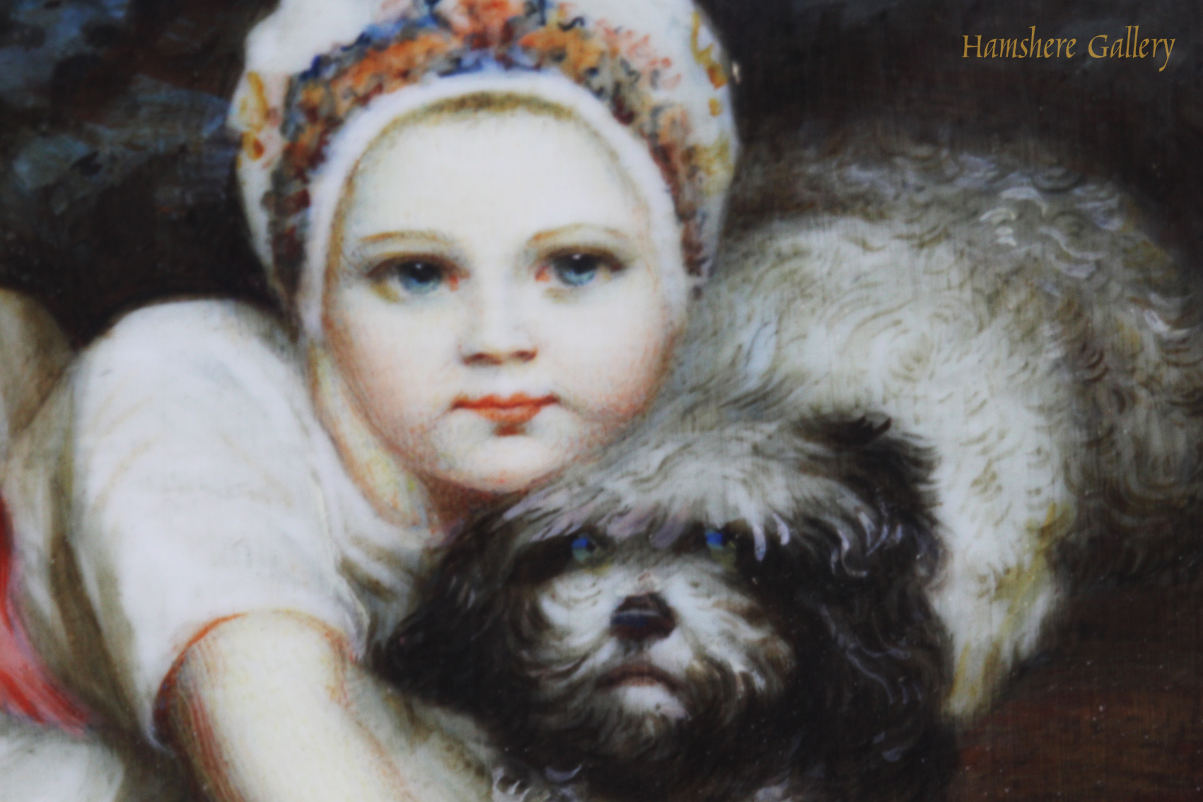 Click for larger image: An ivory miniature of Princess Sophia Matilda of Gloucester (1773-1844) and her Maltese after Sir Joshua Reynolds PRA (English, 1723-1792) - An ivory miniature of Princess Sophia Matilda of Gloucester (1773-1844) and her Maltese after Sir Joshua Reynolds PRA (English, 1723-1792)<br />