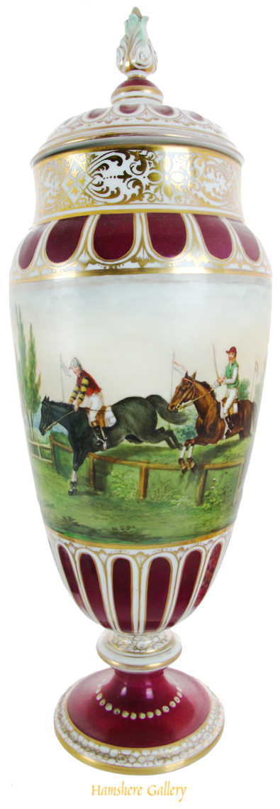 Click to see full size: A horse racing vase painted by P Robiger for Dresden