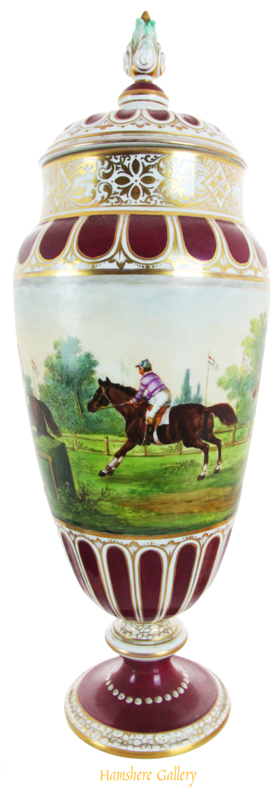 Click for larger image: A horse racing vase painted by P Robiger for Dresden - A horse racing vase painted by P Robiger for Dresden<br />