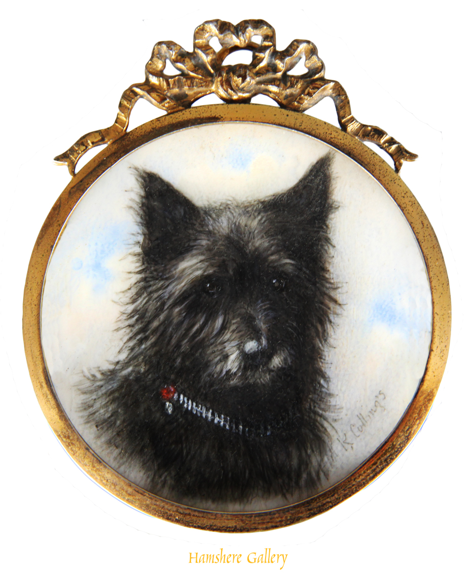 Click to see full size: Ivory miniature of a scottish terrier by Keturah Ann Collings (Englush, 1862 - 1948)