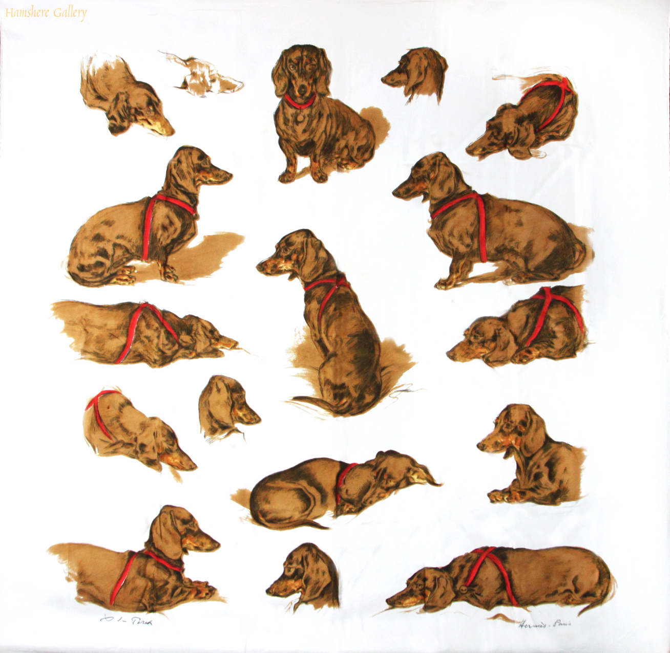 Click to see full size:  Herm�s silk scarf depicting Dachshunds �Les Teckels� after Xavier de Poret (French, 1894 - 1975)