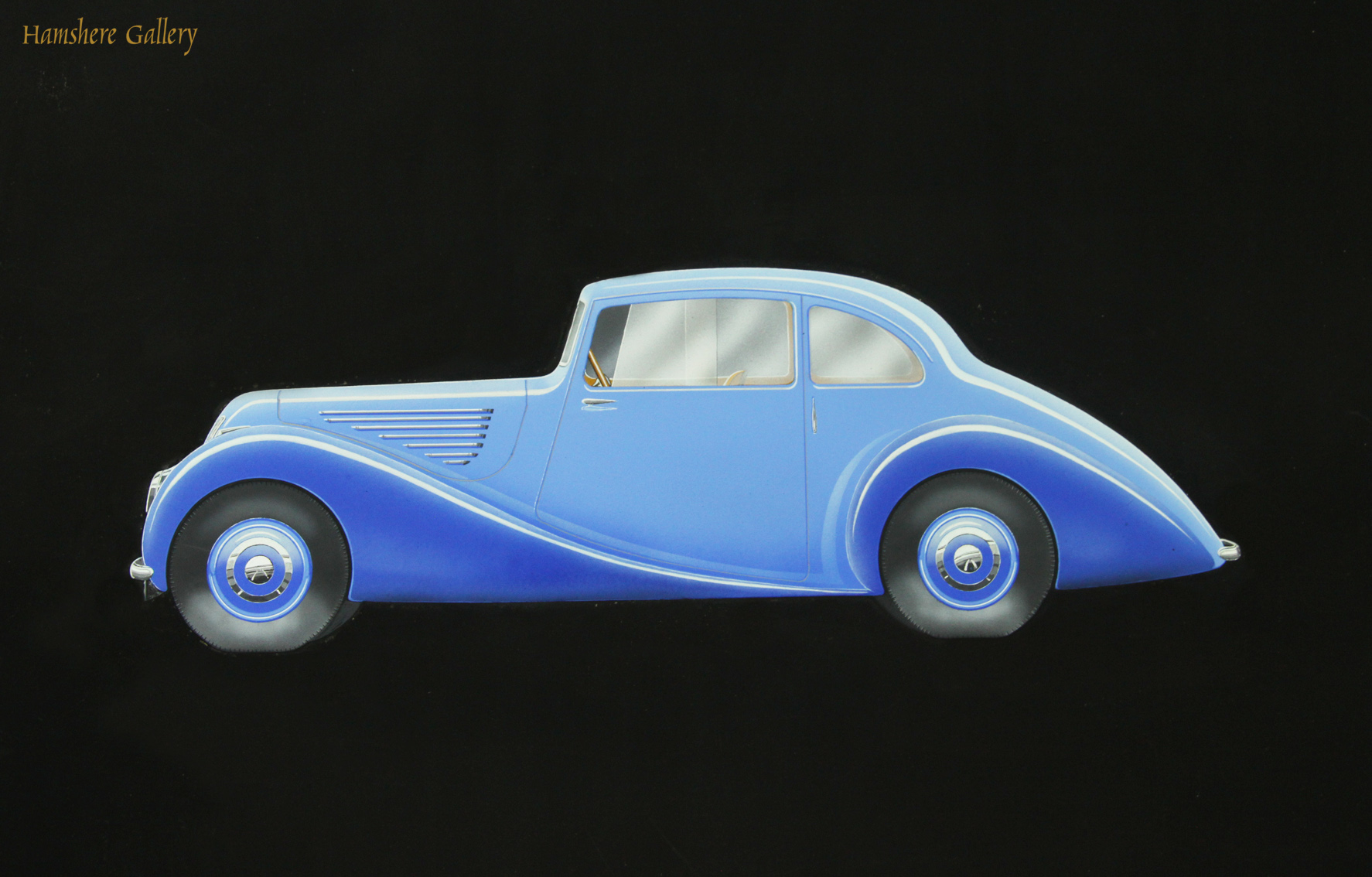 Click to see full size: 1940�s gouache design for Bristol Motor Car 400