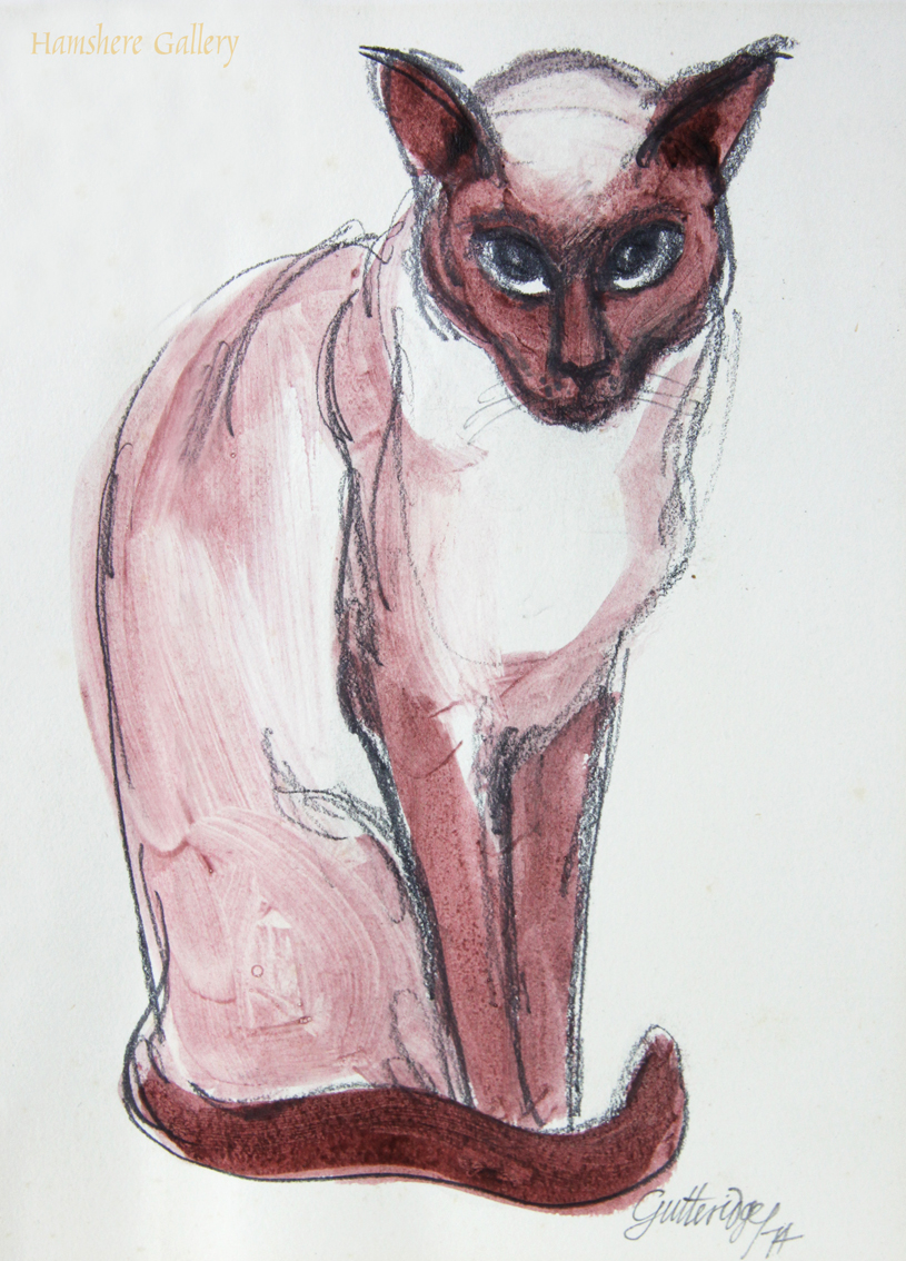 Click to see full size: Water wash over charcoal of a Siamese cat by Thomas Gordon Lindsay Gutteridge (English, 1923-1907)