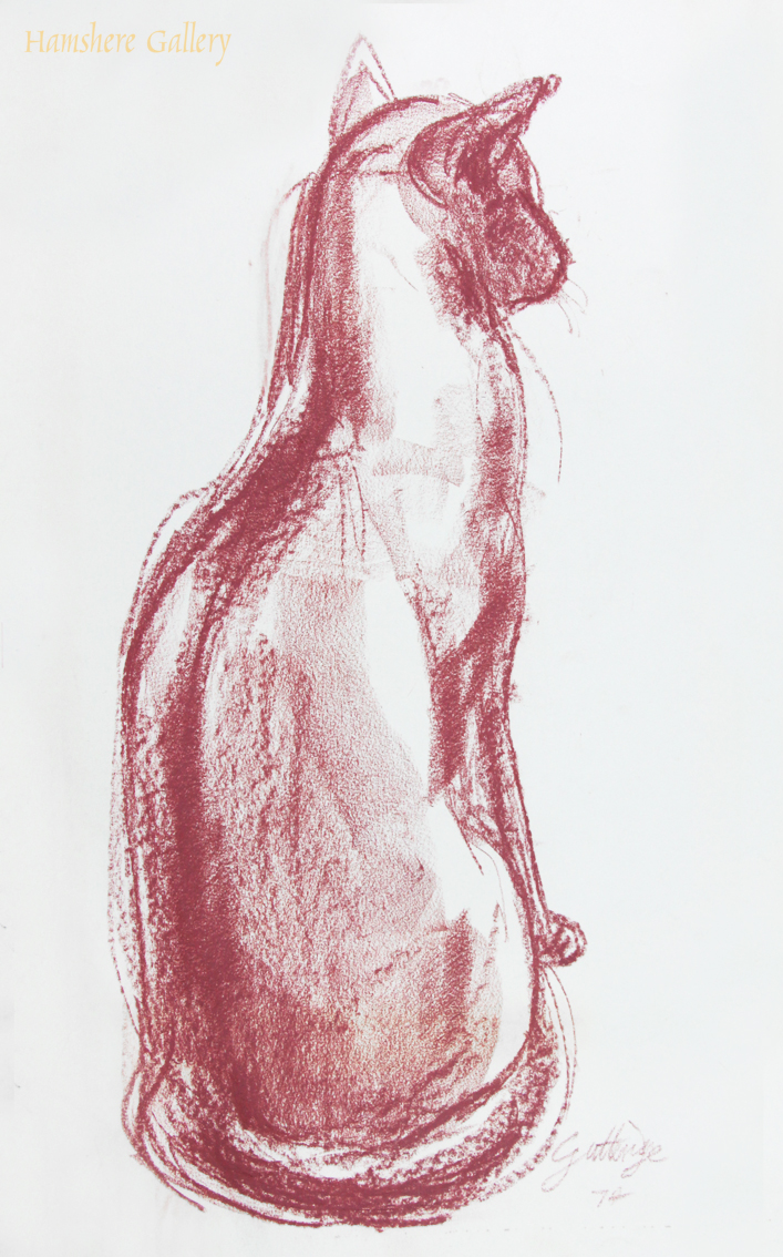 Click to see full size: Red crayon study a Siamese cat by Thomas Gordon Lindsay Gutteridge (English, 1923-1907)
